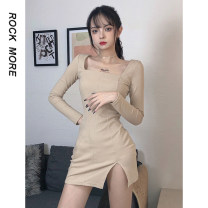 Dress Spring 2021 Khaki, black, blue S,M,L,XL longuette other Long sleeves street square neck Loose waist Solid color routine Others 18-24 years old Type A Lace up, fold ROD9211W11 81% (inclusive) - 90% (inclusive) other cotton Europe and America