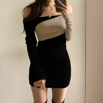 Dress Spring 2020 Khaki, black S,M,L Short skirt singleton  Long sleeves street One word collar High waist Socket One pace skirt routine 18-24 years old zipper ROMLD00937 81% (inclusive) - 90% (inclusive) cotton Europe and America