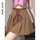 skirt Winter 2020 S,M,L khaki Short skirt street High waist Pleated skirt Solid color Type A 18-24 years old 71% (inclusive) - 80% (inclusive) polyester fiber fold Europe and America