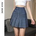 skirt Spring 2021 S,M,L blue Short skirt street High waist A-line skirt Type A 18-24 years old ROVBD11385 51% (inclusive) - 70% (inclusive) cotton Button Europe and America