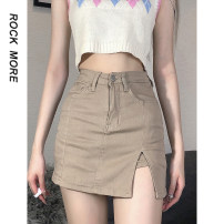 skirt Spring 2021 S,M,L khaki Short skirt street High waist other Solid color Type A 18-24 years old ROVBD11395 91% (inclusive) - 95% (inclusive) Denim Fold, button, zipper Europe and America