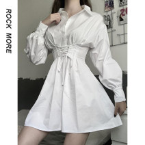 Dress Spring 2021 white S,M,L Mid length dress singleton  Short sleeve commute other High waist Decor other A-line skirt routine 18-24 years old Type A Korean version Bows, folds, straps, buttons ROD8648W0J 81% (inclusive) - 90% (inclusive) other polyester fiber