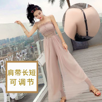 Casual pants XS,S,M,L,XL Summer of 2019 trousers Jumpsuit Natural waist 81% (inclusive) - 90% (inclusive) polyester fiber