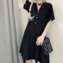 Dress Summer 2020 black S,M,L Mid length dress singleton  Short sleeve commute tailored collar High waist Solid color Socket A-line skirt Type A Korean version Button More than 95% knitting polyester fiber