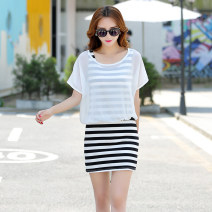 Dress Summer 2016 Single black striped skirt without smock single smock black striped skirt + smock S M L XL single blouse one size fits all without dress Middle-skirt Two piece set Sleeveless commute Crew neck Elastic waist stripe Socket A-line skirt Bat sleeve straps 25-29 years old Type A stripe