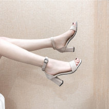 Sandals 34,35,36,37,38,39,40 Black 5cm, black 7cm, apricot 5cm, apricot 7cm Suede Handange Barefoot Thick heel High heel (5-8cm) Summer of 2019 Flat buckle sexy Solid color Adhesive shoes Youth (18-40 years old) rubber daily Rear trip strap Low Gang Hollow Microfiber skin Microfiber skin Flat buckle