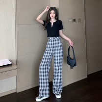 Women's large Spring 2021 White top + plaid pants suit black top + plaid pants suit S XL M L Dress singleton  commute lady Dorkia 96% and above Other 100%