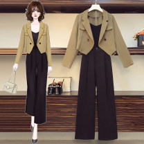 Women's large Autumn 2020 Other oversize styles Two piece set commute easy moderate Cardigan Long sleeves Solid color Korean version other have cash less than that is registered in the accounts other Three dimensional cutting routine Button trousers