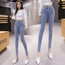 Jeans Summer 2021 wathet S,M,L,XL trousers High waist Pencil pants routine 18-24 years old Button L 96% and above