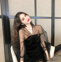 Dress / evening wear Adult ceremony, party, company annual meeting, performance, routine, appointment XS,S,M,L,XL Black [classic black], the original price will be restored after three days of purchase~ Middle-skirt Elastic waist Summer 2020 princess Deep collar V Deep V style Gauze, silk satin