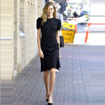 Dress Summer 2021 black S,M,L,XL Middle-skirt singleton  Short sleeve street Crew neck middle-waisted Solid color zipper Ruffle Skirt routine Others IOHAWOG A03339 Europe and America