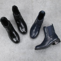 Boots 36,37,38,39,40 Black, dark blue PU Other / other Middle heel (3-5cm) Thick heel PU Short tube Round head Artificial short plush Artificial short plush Winter of 2019 Sleeve Europe and America rubber Solid color Martin boots Adhesive shoes Artificial short plush Youth (18-40 years old) winter