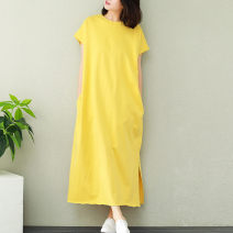 Women's large Summer of 2019 yellow Big size average Dress singleton  commute easy Short sleeve Solid color literature Crew neck Medium length cotton routine mmsy2019061633-old 96% and above