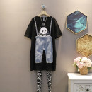 Dress Summer 2021 black Average size Mid length dress singleton  Short sleeve commute Crew neck Loose waist other Socket A-line skirt routine Others 25-29 years old Type A Korean version mq603 30% and below other cotton