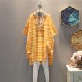 Dress Summer 2021 Orange, blue, Navy, green, pink, gray Average size Middle-skirt singleton  commute V-neck Loose waist stripe Socket 25-29 years old Korean version other