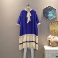 Dress Summer 2020 blue Average size Mid length dress singleton  Short sleeve commute Crew neck Loose waist other Socket A-line skirt routine 25-29 years old Korean version 30% and below other polyester fiber