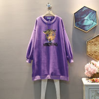 Dress Winter 2020 Average size Mid length dress singleton  Long sleeves commute Crew neck Loose waist Animal design Socket One pace skirt routine Others 25-29 years old Type A Korean version 30% and below other cotton