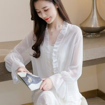 Lace / Chiffon Summer 2021 Apricot, white, pink S,M,L,XL,2XL Long sleeves Versatile Cardigan singleton  easy have cash less than that is registered in the accounts V-neck Solid color routine Splicing 96% and above polyester fiber