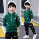 suit Lotemi Green black white 110cm 120cm 130cm 140cm 150cm 160cm 170cm male spring and autumn leisure time Long sleeve + pants 2 pieces routine There are models in the real shooting Socket nothing other Cotton blended fabric children Expression of love Class B Other 100% Spring 2021 Chinese Mainland