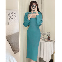 Dress Spring 2021 Blue, apricot S,M,L longuette Two piece set Long sleeves commute One word collar middle-waisted Solid color Socket One pace skirt camisole 25-29 years old T-type backless