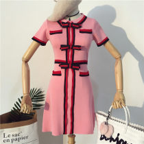 Dress Summer of 2018 Pink White Black Average size Middle-skirt singleton  Short sleeve commute Crew neck High waist Socket A-line skirt Type A Korean version Three dimensional decoration 560DF18