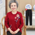 Middle aged and old women's wear Winter of 2018, autumn of 2018 Red [single top], caramel [single top], camel [single top], Navy [single top], red + pants, caramel + pants, camel + pants, Navy + pants Happiness sweater easy singleton  Decor Over 60 years old Socket moderate Half high collar routine