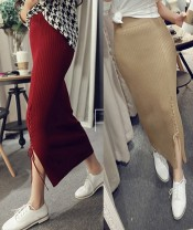 skirt Fall 2017 Average size longuette sexy High waist Pleated skirt Solid color Type A Other / other
