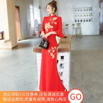 Dress Spring 2021 Red, black S,M,L,XL,2XL longuette singleton  three quarter sleeve commute stand collar High waist Decor zipper One pace skirt pagoda sleeve Others 18-24 years old Type H Retro Embroidery, stitching, asymmetry, zipper 20122565GTAI6209 81% (inclusive) - 90% (inclusive) other other