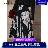 skirt Spring 2021 160/68A/M,165/72A/L,170/76A/XL,155/64A/S,. Black, description Mid length dress Natural waist A-line skirt Type A 25-29 years old QZ1-1217TM0029 More than 95% Amii polyester fiber