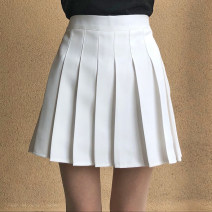 skirt Summer of 2019 S,M,L,XL,2XL White, gray, black, pink Short skirt Sweet High waist Pleated skirt Solid color Type A 18-24 years old W-049 51% (inclusive) - 70% (inclusive) nylon