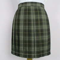 skirt Autumn of 2019 S,M,L,XL Army green, green Short skirt Sweet High waist Pleated skirt lattice 18-24 years old S-038 71% (inclusive) - 80% (inclusive) cotton solar system