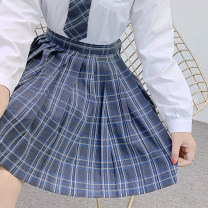 skirt Summer 2020 S,M,L,XL Black blue blue blue short skirt Short skirt Sweet High waist Pleated skirt lattice 18-24 years old X-036 71% (inclusive) - 80% (inclusive) cotton solar system