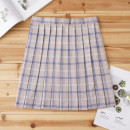 skirt Autumn of 2019 S,M,L,XL Coffee room blue check skirt Short skirt Sweet High waist Pleated skirt lattice 18-24 years old H-038 71% (inclusive) - 80% (inclusive) cotton solar system