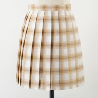 skirt Summer 2020 S,M,L,XL Fancy color tawny white plaid skirt, fancy color tawny white plaid skirt (length 48CM) Short skirt Sweet High waist Pleated skirt lattice 18-24 years old Z-044 71% (inclusive) - 80% (inclusive) cotton solar system