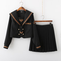 student uniforms Autumn of 2019 Long sleeve single jacket (for tie), long sleeve jacket + 42cm skirt (for tie), long sleeve jacket + 62cm skirt (for tie), long sleeve jacket + 80cm skirt (for tie) S,M,L,XL,XXL Long sleeves solar system trousers 18-25 years old Xiaojin polyester fiber I-037