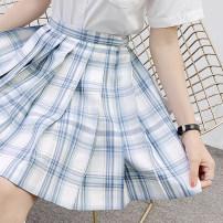 skirt Summer 2020 XS,S,M,L,XL,2XL Undead Sichuan 43cm skirt, undead Sichuan 48CM skirt Short skirt Sweet High waist Pleated skirt lattice 18-24 years old U-035 More than 95% polyester fiber solar system