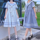 Dress Summer 2021 White, blue S,M,L Mid length dress singleton  Short sleeve commute Admiral Loose waist Solid color Socket A-line skirt routine 18-24 years old Type A Embroidery, stitching other