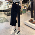 skirt Spring 2021 S,M,L,XL Black, blue longuette commute High waist A-line skirt Solid color Type A 18-24 years old knitting polyester fiber fold