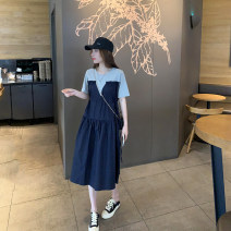 Dress Spring 2021 Navy Blue Average size longuette Two piece set Long sleeves commute Crew neck High waist letter Socket A-line skirt routine 18-24 years old Type A Splicing 31% (inclusive) - 50% (inclusive) cotton