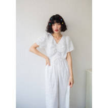 Dress Summer of 2019 White, sky blue S,M,L longuette singleton  Short sleeve Sweet V-neck High waist Solid color Socket Princess Dress puff sleeve 18-24 years old Type A Three lane homemade More than 95% cotton princess