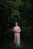 Hanfu 96% and above Qingwan piece customization (additional charge for chest size over 105) Silk jacquard pylon (machine embroidered), silk songmo (head is silk Hualuo, I-shaped pleated skirt (pleated skirt) m in stock, hand embroidered version pylon silk