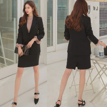 suit Spring 2020 Black coat + skirt XS,S,M,L,XL,2XL Long sleeves routine Self cultivation tailored collar Single breasted Original design routine Solid color 30% and below Other / other