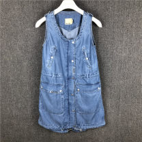 Dress Summer 2017 Blue bull light medium XS (155 / 80A), m (165 / 88a), s (160 / 84A) stain, l (170 / 92a), XL (175 / 96a) Short skirt Sleeveless zipper ABLE JEANS