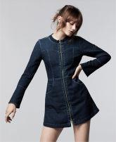 Dress Spring of 2018 Blue bull dark Mid length dress singleton  Long sleeves ABLE JEANS