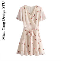 Dress Summer of 2019 S,M,L Short skirt singleton  Short sleeve commute V-neck High waist Decor Princess Dress routine 18-24 years old Type A rural