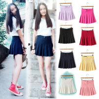 skirt Summer of 2019 XS,S,M,L,XL Short skirt Versatile High waist Pleated skirt Solid color Type A 18-24 years old 81% (inclusive) - 90% (inclusive) other AoorizanApparel polyester fiber Button, zipper, stitching