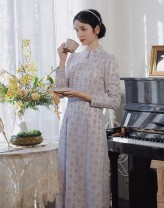 cheongsam Winter 2020 S,M,L Lavender  Long sleeves long cheongsam Retro Low slit daily Decor 18-25 years old Pillow dream Village polyester fiber 96% and above