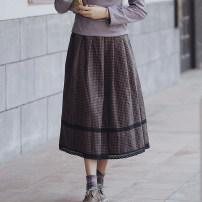 skirt Autumn of 2019 S,M,L lattice Mid length dress Versatile Natural waist A-line skirt lattice Type A 25-29 years old A0238 31% (inclusive) - 50% (inclusive) Wool Pillow dream Village wool
