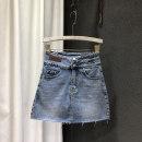 skirt Spring 2021 S,M,L,XL blue Short skirt Versatile High waist Denim skirt Solid color Type A 25-29 years old 71% (inclusive) - 80% (inclusive) Denim cotton Ruffle, hand worn, pocket, asymmetric, worn, zipper, 3D, fabric
