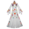 Dress Autumn 2020 I01 × fly white printing S,M,L,XL,2XL,3XL longuette singleton  Long sleeves commute V-neck Loose waist Decor Socket Big swing routine Type A ethnic style Embroidery other polyester fiber